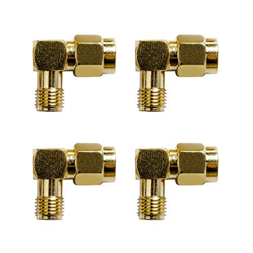 Wirelessan SMA Male to SMA Female 90° Degree Coupling Nut Connector Adapter for Wi-Fi Antenna/FPV Drone/Signal Booster/Repeaters/Radio/RF Coaxial Coax/Extension Cable (Pack of 4)