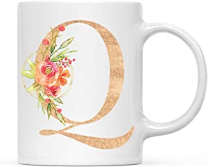 Andaz Press 11oz. Ceramic Coffee Tea Mug Bridesmaid's Wedding Gift, English Garden Florals, Monogram Letter Q, 1-Pack, Girls Women Bridal Shower Wedding Party Gifts