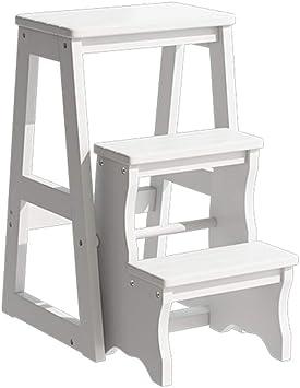 Escalera de Madera Práctica Taburete de 3 Pasos, Taburete Alto Cama para niños Escaleras Escalera de Trabajo doméstico para Adultos, Reposapiés Antideslizante Oficina en casa Armario KADJ: Amazon.es: Electrónica