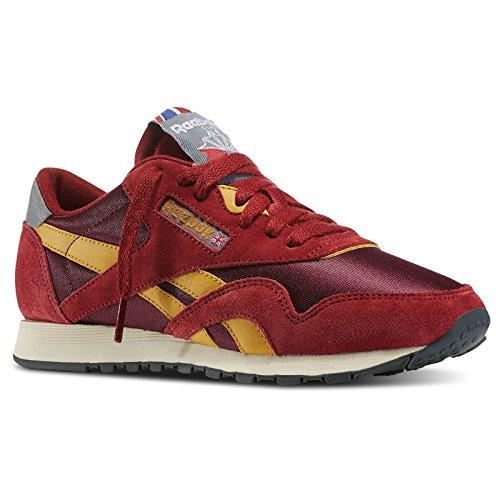 Reebok Women's Classic Nylon 80 Vintage Classic Shoe, Triathlon Red/Dark Red/Trophy Gold/Gravel/Foggy Grey, 7.5 M US
