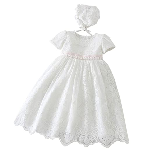 97b7a3f2b28e Baby Girls Embroidered Empire Waist Christening Gown Baptism Dress with  Lace Bonnet Ivory Size 3M