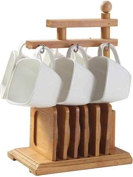 compactes et Belles Peuvent /être des soucoupes commod/ément rang/ées tr/ès adapt/ées au th/é au caf/é DQM Les Tasses /à Espresso en Porcelaine Blanche avec soucoupes et Support en Bois de Bambou
