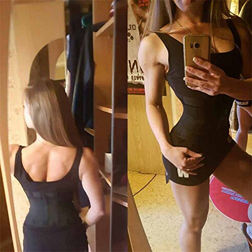 FOUMECH Women's Waist Trainer Belt-Waist Cincher Trimmer-Slimming Body Shaper Belt-Sport Girdle Belt (Black, Large) Photo #4