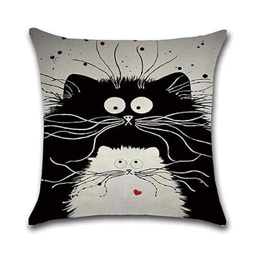 YXYP Gato de Dibujos Animados Funda de cojín, Lino Pillow ...