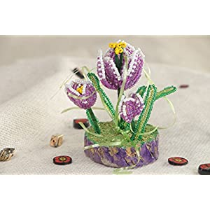 Round Holder With Hand Woven Beaded Flowers In The Shape Of Crocuses 9
