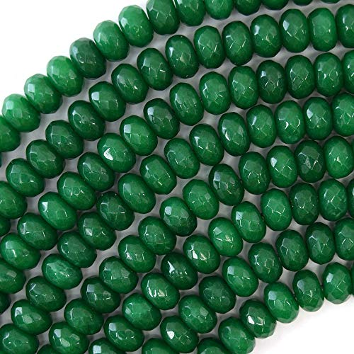 "Faceted Emerald Green Jade Rondelle Beads 15"" 6x10mm"
