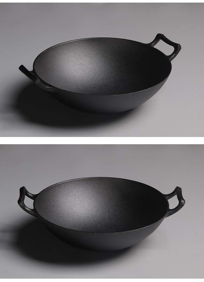 Amazon.com: MRXUE Cast Iron Pot Non-Stick Pan Large Wok, No Oil ...