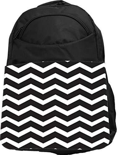 Rikki Knight UKBK Chunky Chevron Black and White Zig Zag Tech BackPack - Padded for Laptops & Tablets Ideal for School or College Bag BackPack