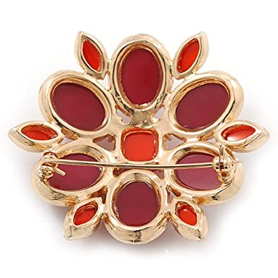Avalaya Carrot Red/Cranberry Acrylic Stone Flower Corsage Brooch In Gold Tone - 55mm Diameter F0YQ8