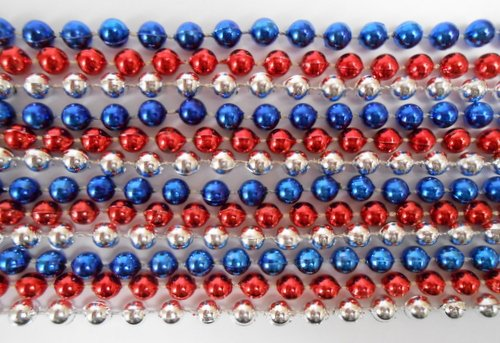 33 inch 7mm Round Metallic Red, Blue and Silver Mardi Gras Beads - 6 Dozen (72 necklaces) by Mardi Gras Spot (Image #1)