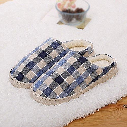 Winter Plaid Baumwolle Hausschuhe Mode Baumwolle Halbe Tasche mit Pantoffeln am Ende Der Hausschuhe,EIN,38-39