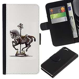 KingStore / Leather Etui en cuir / Apple Iphone 6 / Pintura Caballo Esqueleto de arte de época