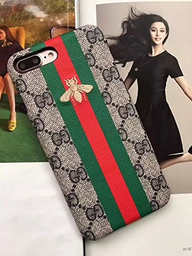 RYANA iPhone7/8 Plus -US Fast Deliver - Luxury Elegant PU Leather Monogram Classic Style Case Cover for Apple iPhone 7 Plus iPhone 8 Plus Only (Stripe Small Bee)