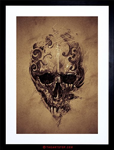 (The Art Stop Painting Drawing Tattoo Creepy Skull Gothic Grunge Framed Print F12X4591)