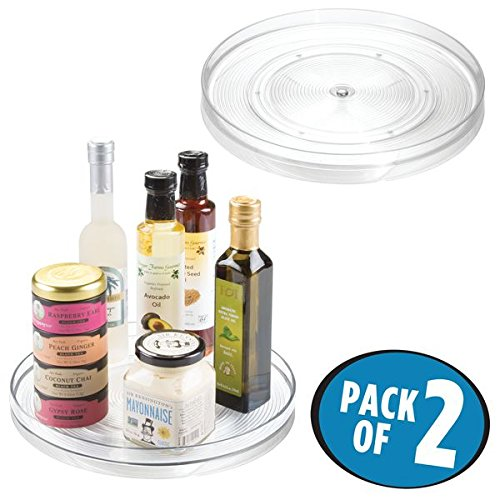 "mDesign Lazy Susan Turntable Food Storage Container for Cabinets, Pantry, Refrigerator, Countertops, BPA Free - Spinning Organizer for Spices, Condiments, Baking Supplies - 11"" Round, Pack of 2, Clear"