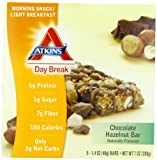 Atkins Day Break, Chocolate Hazelnut Bar, 1.40 oz Bars, 5 count box ( pack of 2) by Atkins