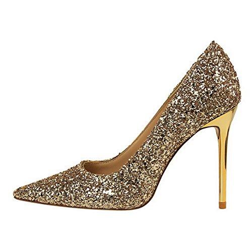 Aalardom Da Donna Solide Gonnellino Tacco A Punta Scarpe Con Cinturino-scarpe Con Paillettes Dorate