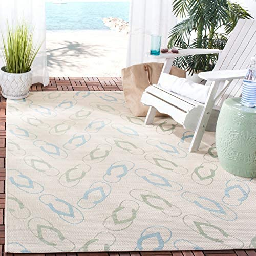 Safavieh Courtyard Collection CY7420-213A2 Beige and Aqua Indoor Outdoor Area Rug 8 x 11