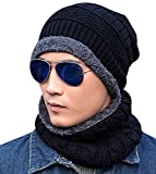 Loritta Men Beanie Hat Scarf Set Winter Warm Knit Hat and Infinity Scarf Gift Set