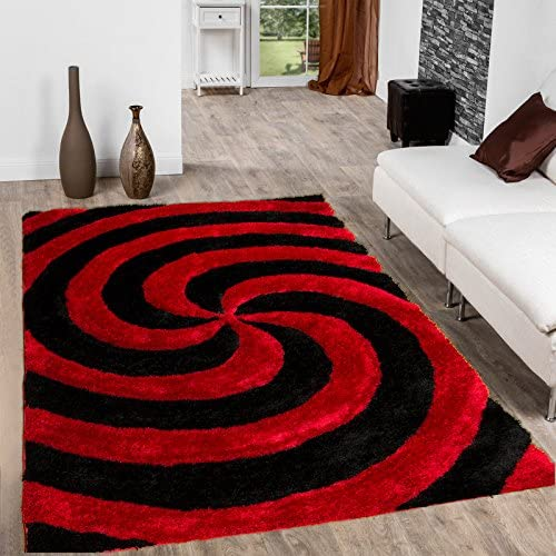Allstar 5×7 Lava Modern and Contemporary Hand Carved Rectangular Shag Accent Rug with Black Radial Vortex Design 4 11 x 6 11