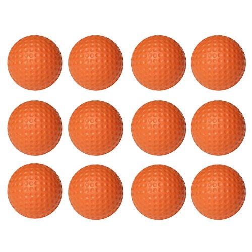 WINOMO 12pcs Soft Flexible Practice Golf Balls PU Golfballs Indoor Outdoor Training Golf Ball (Orange)