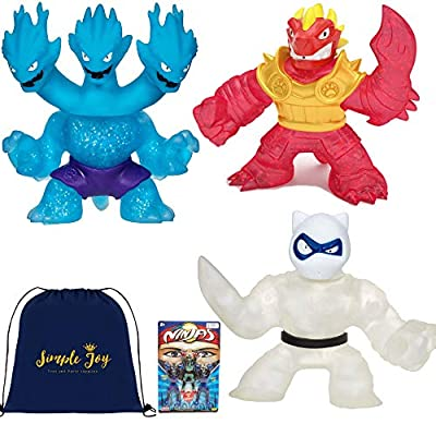 Heroes of Goo Jit Zu Super Stretchy Action Figures Water Blast Attack - Ultra Rare Hydra, Blazagon, Pantaro (3 Hero Pack Set): Toys & Games