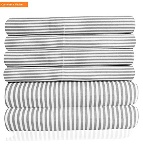 (Mikash Cal King Size Bed Sheets - 6 Piece 1500 Thread Count California King Sheet Set - 2 Extra Pillow Cases, Great Value, California King, Classic Stripe Gray | Style)