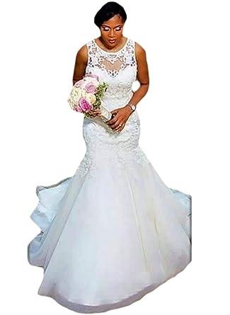SuMeiyue Beading Bateau Neck Wedding Dresses Mermaid Button Back ...