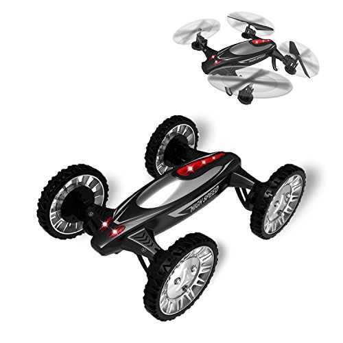 Flying-Car-Hi-Tech-Off-Road-Toys-RC-Car-and-24G-6-Axis-Gyro-Quadcopter-Drone-with-LED-Headless-Mode-One-Key-Return-and-3-Speed-Black