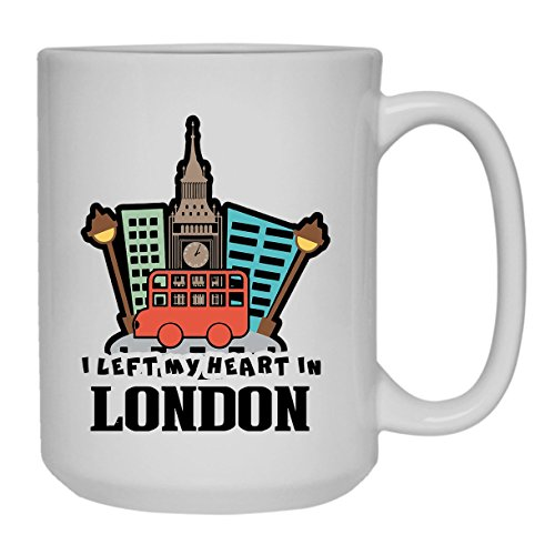 My Heart In London Mug, Coffee Mug, White Tea Mug 15 oz Heart London Mug