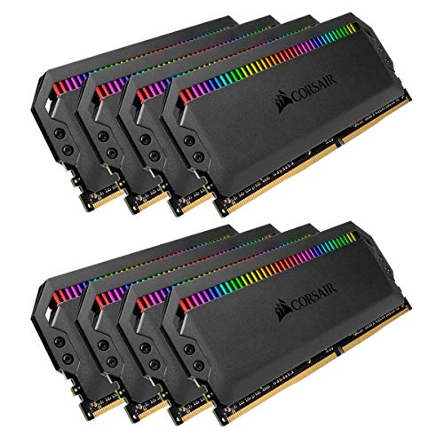 - Corsair Dominator Platinum RGB 128GB (8x16GB) DDR4 3000 (PC4-24000) C15 1.35V Desktop Memory - Black