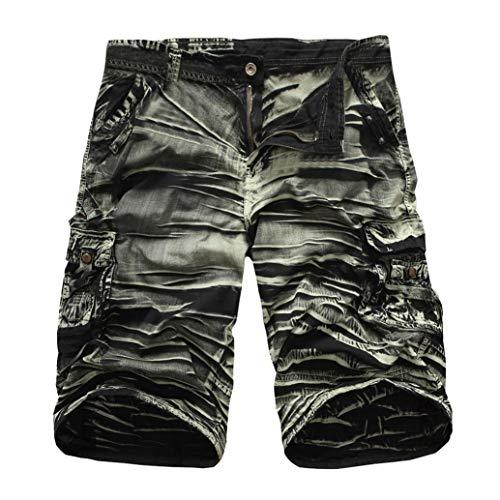 - iZHH Men's Outdoors Pocket Work Trouser Cargo Shorts Pants Twelve Colors(Army Green-B,36)