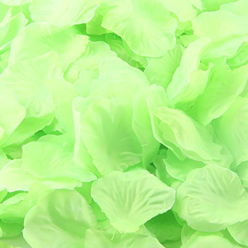"LEFVâ""¢ 1000pcs Silk Rose Petals Artificial Flower Wedding Party Vase Decor Bridal Shower Favor Centerpieces Confetti Decorations (40 Colors for Choice)- Light Green"