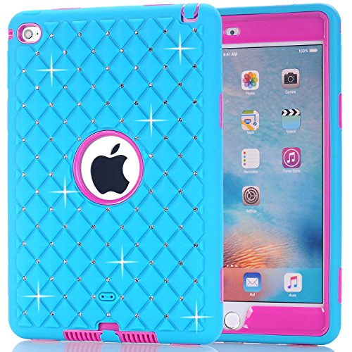 iPad Mini 4 Tablet Case Letszhu Slim Shockproof PC And Silicone Protective Cover With Rhinestone Designed For Apple iPad Mini 4 (Sky Blue) (Hp 7 G2 Case Orange)