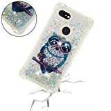 Google Pixel 3 XL Case,Art Painting Floating [Liquid Quicksand Glitter] [Shock Absorption] Anti-Scratch Protective Case Cover W/Reinforced Cushion Corner for Google Pixel 3 XL (Owl)