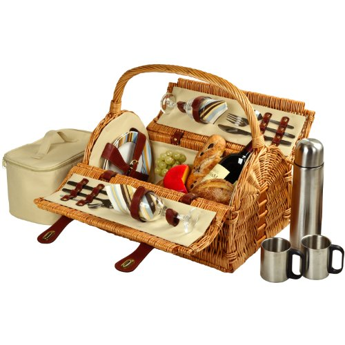 Picnic at Ascot Sussex Willow Picnic Basket with Service for 2,  with Coffee Set - Santa Cruz