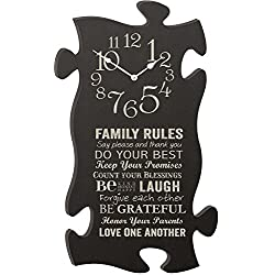 Family Rules Grey 22 x 13 Wall Hanging Wood Puzzle Piece Clock