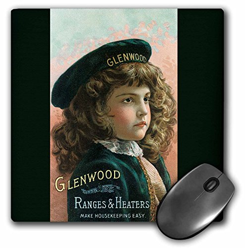 3dRose BLN Vintage Trade Cards Featuring Children - Glenwood Ranges and Heaters Pretty Girl in a Green Beret - MousePad - Range Glenwood