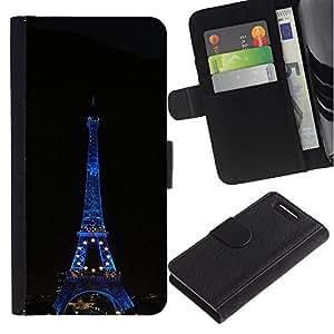 KingStore / Leather Etui en cuir / Sony Xperia Z1 Compact D5503 / Arquitectura Torre Eiffel en la noche