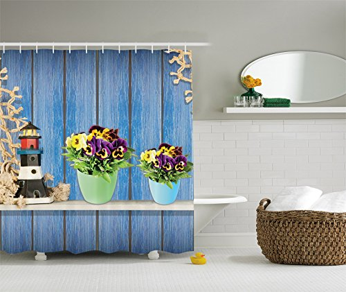 Pansy Flower Pictures (Ambesonne Pansy Flowers Decorations Collection, Blue Wooden Planks Old Lighthouse and Fishing Nets, Polyester Fabric Bathroom Shower Curtain Set with Hooks)
