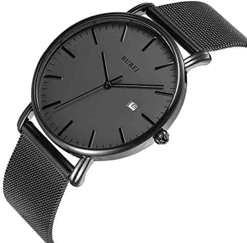 BUREI Men's Fashion Minimalist Wrist Watch Analog Deep Gray Date with Black Milanese Mesh Band