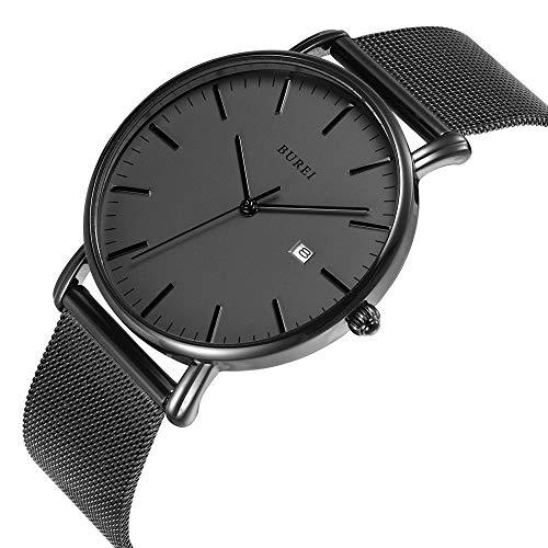 BUREI Men's Fashion Minimalist Wrist Watch Analog Deep Gray Date with Black Milanese Mesh/Leather Band