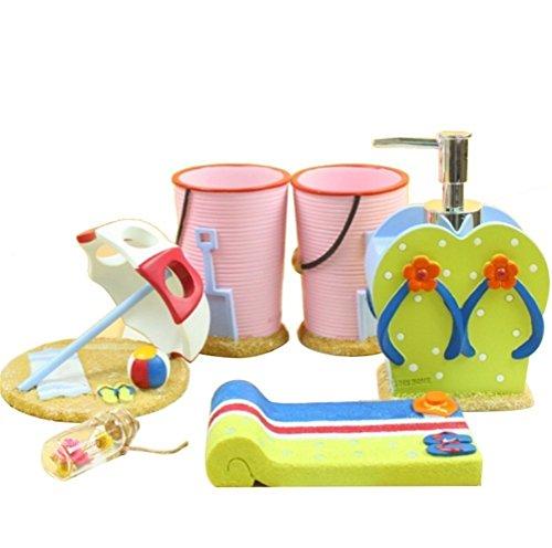 JynXos Resin Soap Dish, Soap Dispenser, Toothbrush Holder Tumbler Bathroom Accessory 5 Piece Set for New Home : Colorful Beach - Valsan Tumbler Holder