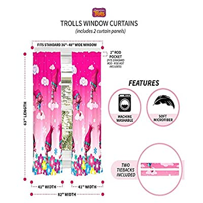 Trolls Jumping Poppy Rainbows Drapes Kids Window Curtains - 2 Panels 42X63 Inch (Pink): Kitchen & Dining