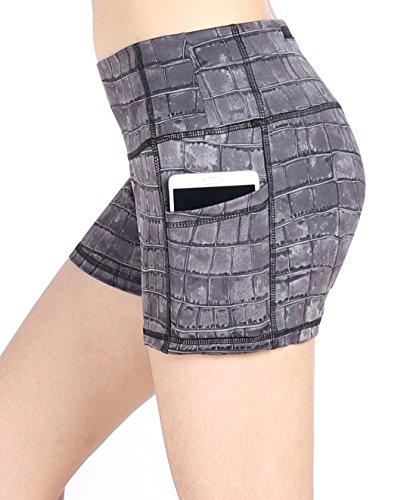 Neonysweets Womens Yoga Short Pants Exercise Workout Running Shorts Gray Printed - Pants Running Short Inseam