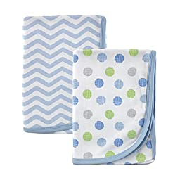 Luvable Friends 2 Piece Cotton Receiving Blankets, Blue Dots