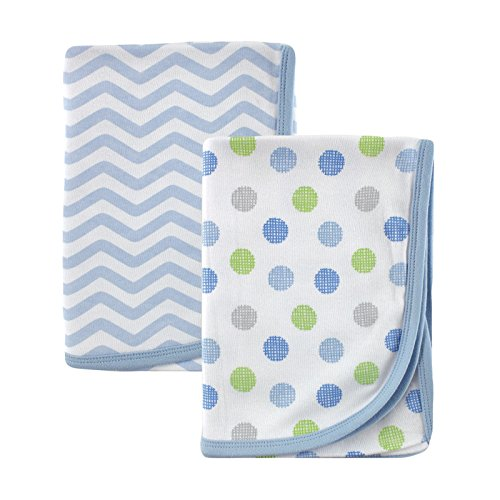 Luvable Friends 2 Piece Cotton Receiving Blankets, Blue (Blue Receiving Blanket)