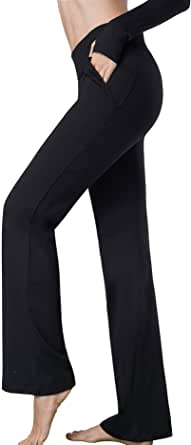 Harsmile Women's Stretch Bootcut Yoga Pants with Pockets, Tummy Control Workout Fitness Work Long Bootleg Yoga Pants