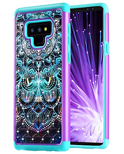 Caka Galaxy Note 9 Case, Galaxy Note 9 Heavy Duty Protection Case Luxury Flower Studded Rhinestone Bling Dual Layer Soft Inner TPU and Plastic Hybrid Floral Case for Samsung Galaxy Note 9 - (Mandala)