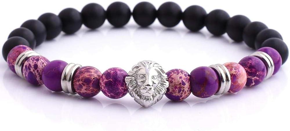 Planetys - Pulsera Yoga Chakra Cabeza de Leon Piedras Naturales Jaspe Imperial Púrpura Ónix y Acero Inoxidable